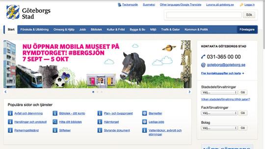 Göteborgs Stads webbplats, skärmdump