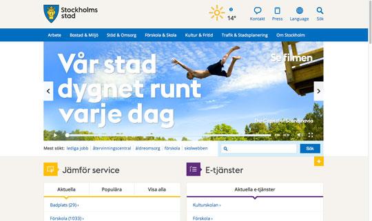Stockholms stads webbplats, skärmdump