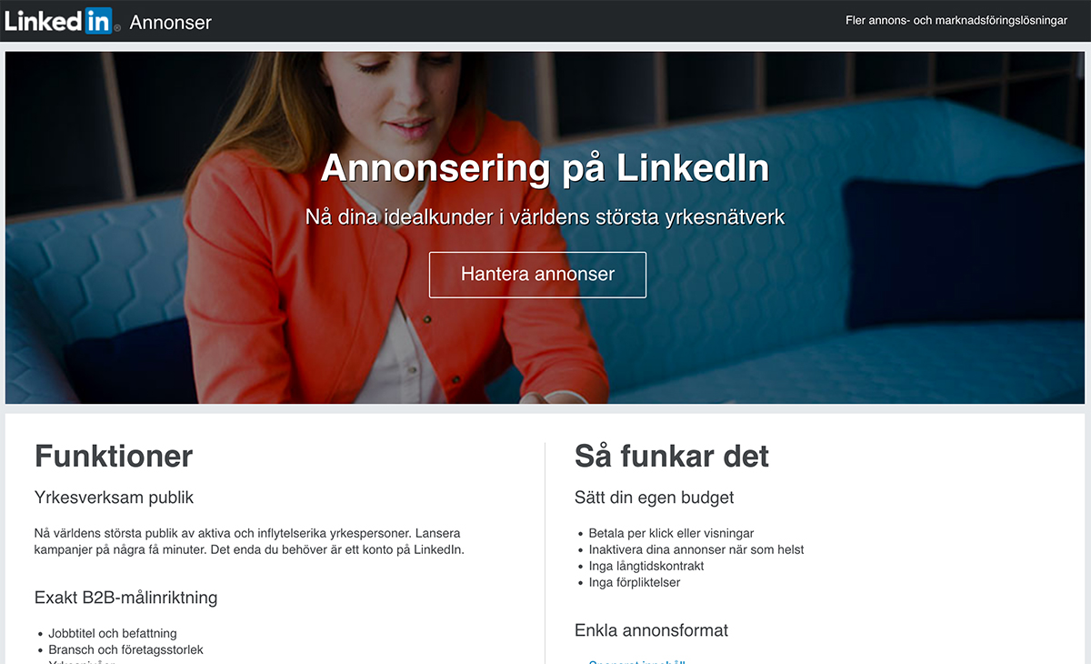 Sponsra en uppdatering på LinkedIn - förstasidan för annonsering på LinkedIn