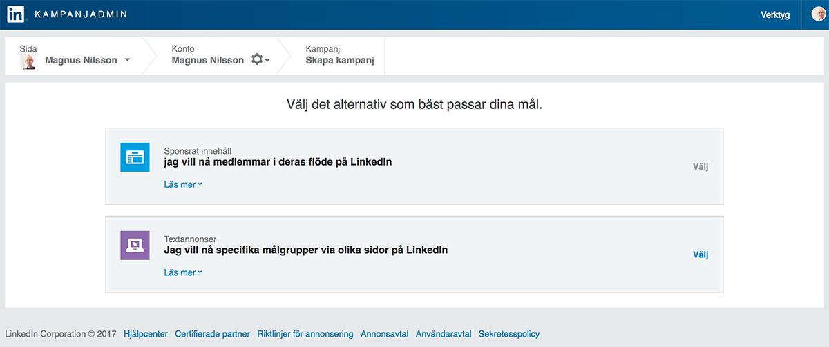 Sponsra en uppdatering på LinkedIn - välj om du vill skapa en annons eller sponsra en uppdatering