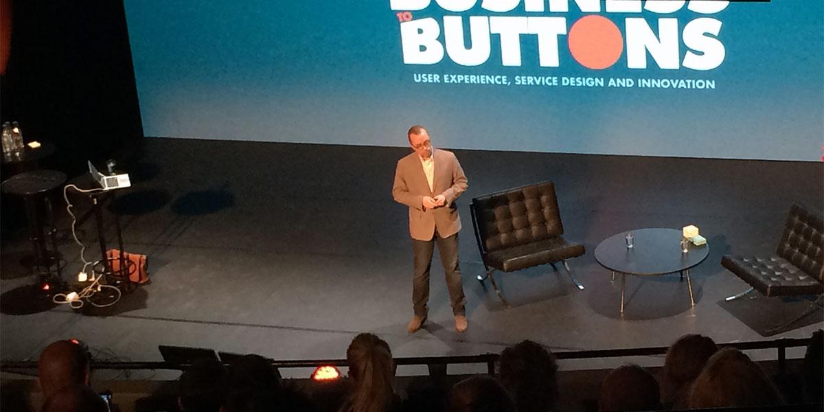 Ethan Marcotte på konferensen From Business to Buttons 2015 (foto: Magnus Nilsson)